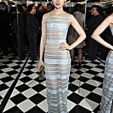 Lily Collins was a vision in a sheer design by Georges Chakra Couture at W magazine's Globes preparty.