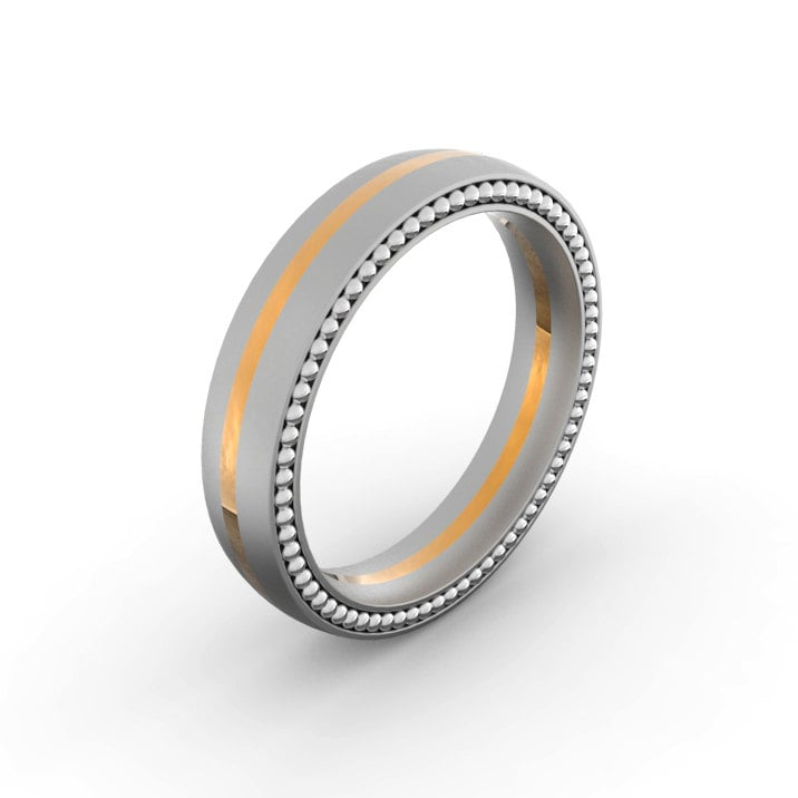 Beaded Two Tone Men's Wedding Ring ($600)