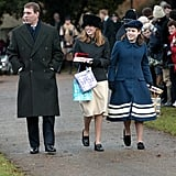 Beatrice and Eugenie attended Christmas Day church service with their father in 2001.