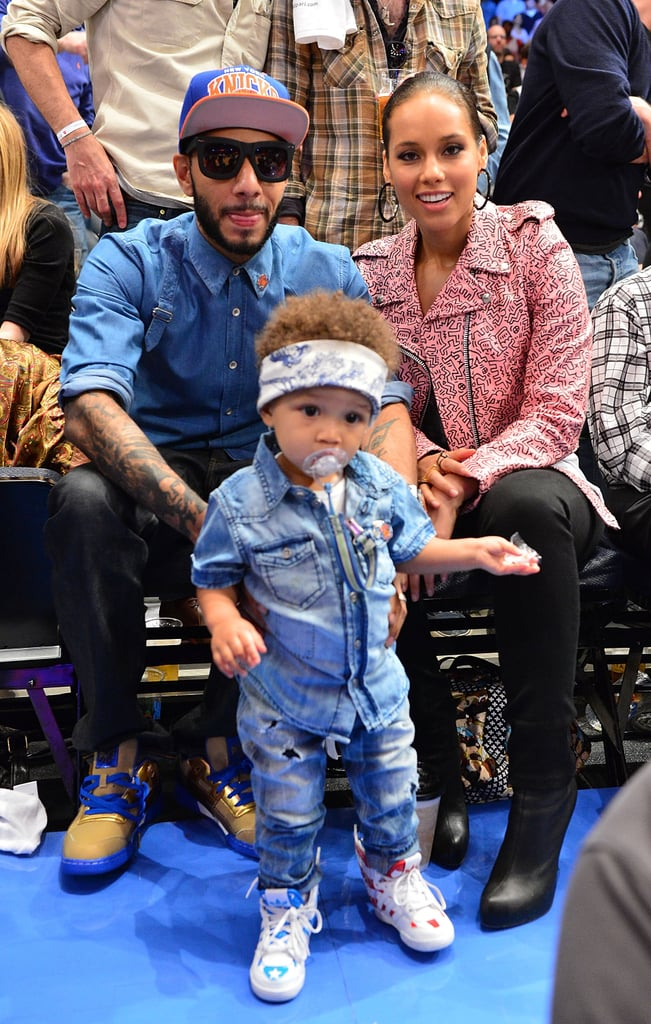 Alicia Keys and Swizz Beatz posed for a sweet family photo with their son, Egypt, at the NY Knicks playoff game in May 2012.