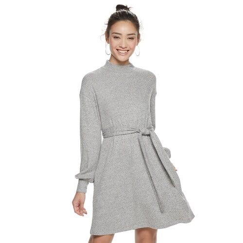 POPSUGAR Belted Cozy Dress in Gray Heather