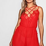 Boohoo Lace Chiffon Cross Over Teddy