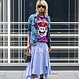 Wear a Denim Jacket With a Colorful Tee and a Long Skirt