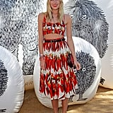 Dree Hemingway dressed up in Dolce & Gabbana's printed crop-top and skirt at Mulberry's party.