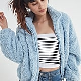 5ba245b5f82 UO Willow Fuzzy Drawstring Jacket ...