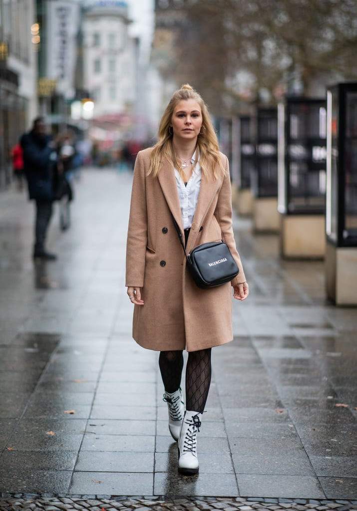 Fishnets With a Classic Camel Coat