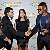 Usher greeted guests has he arrived at the event.