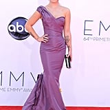 Kelly Osbourne showed her love and appreciation for Zac Posen once again, this time in a lavender, one-shouldered gown. We love the colour-coordinated hair, too!