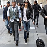Amal Clooney Wearing Balenciaga Leather Jacket