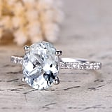 Myraygem Natural Genuine Aquamarine Engagement Ring