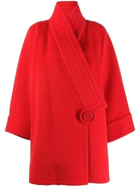 Nina Ricci Pre-Owned 1980s Off Center Wool Coat