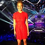 Bar Refaeli donned a girly red dress for the X-Factor Israel finale. Source: Instagram user barrefaeli