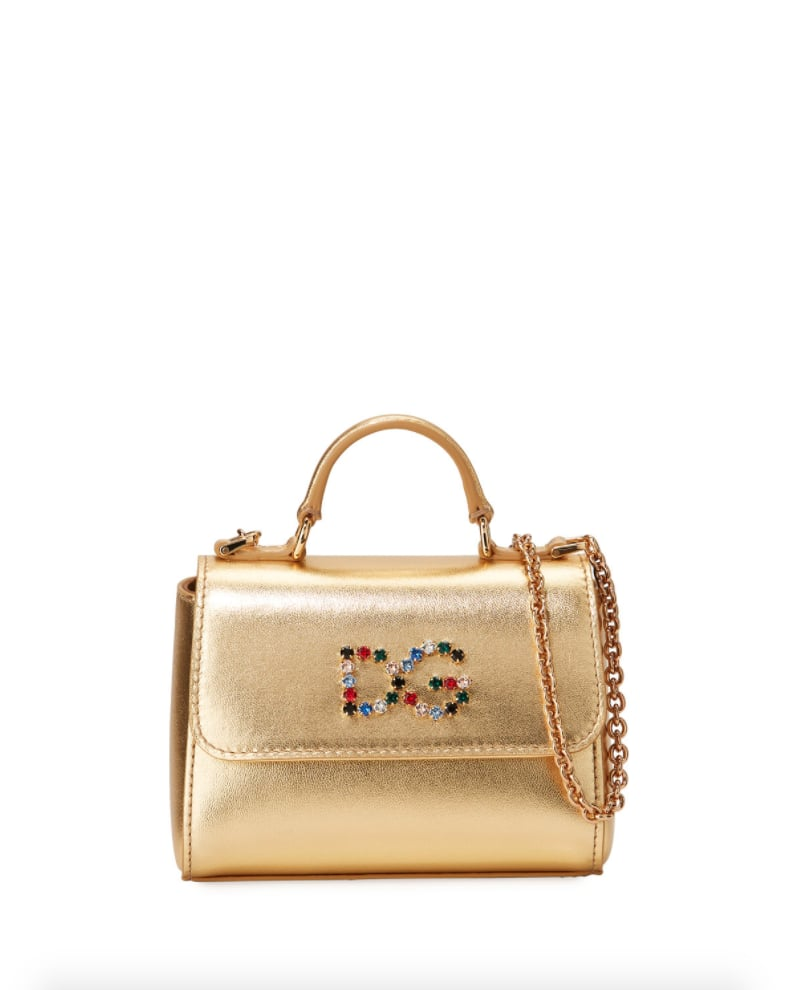 Dolce & Gabbana Girls' Metallic Leather Top-Handle Shoulder Bag