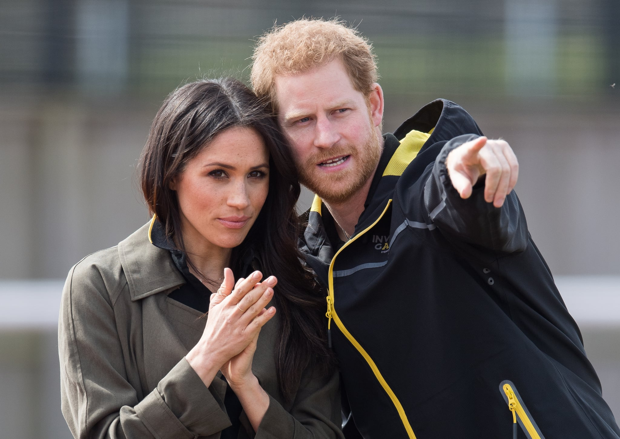 BATH, ENGLAND - APRIL 06:  Prince Harry and Meghan Markle attend the UK Team Trials for the Invictus Games Sydney 2018 at University of Bath on April 6, 2018 in Bath, England.  (Photo by Samir Hussein/WireImage)