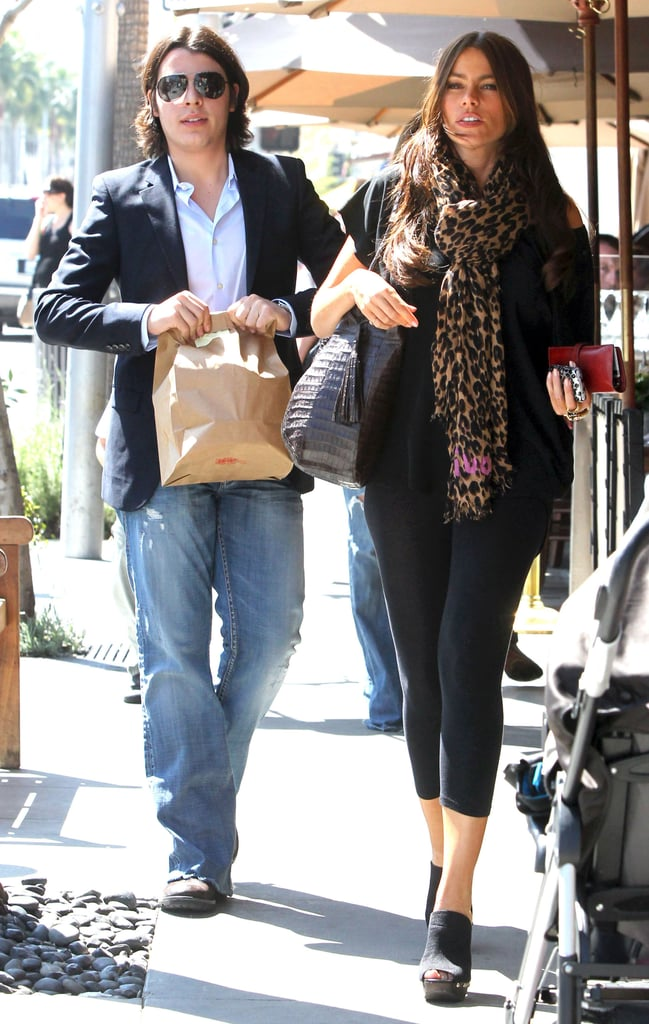 Sofia Vergara grabbed lunch with her 18-year-old son Manolo Gonzalez yesterday at Il Pastaio in Beverly Hills. The Modern Family actress took advantage of her time away from the set to hang out with Manolo and other friends, and she was even seen sharing a hug with a young friend on her way back to their car. Sofia has fit a great deal into her schedule when not shooting her hit comedy, as she teamed up with other Hollywood stars for a funny Jimmy Kimmel video and the Oscars afterparties. She also clocked some hours on the East Coast for filming New Year's Eve, which also stars Zac Efron, Halle Berry, and many more celebs.