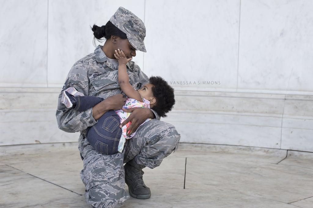 Breastfeeding Moms Nurse in Military Uniforms