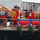 London Mayor Boris Johnson, Princess Beatrice, and Princess Eugenie traveled on the boat Havengore.