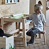 This wooden desk ($70) and stool ($20) set is perfect for budding artists and creatives.