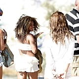 Pregnant Beyoncé Knowles in a white bikini in Croatia.