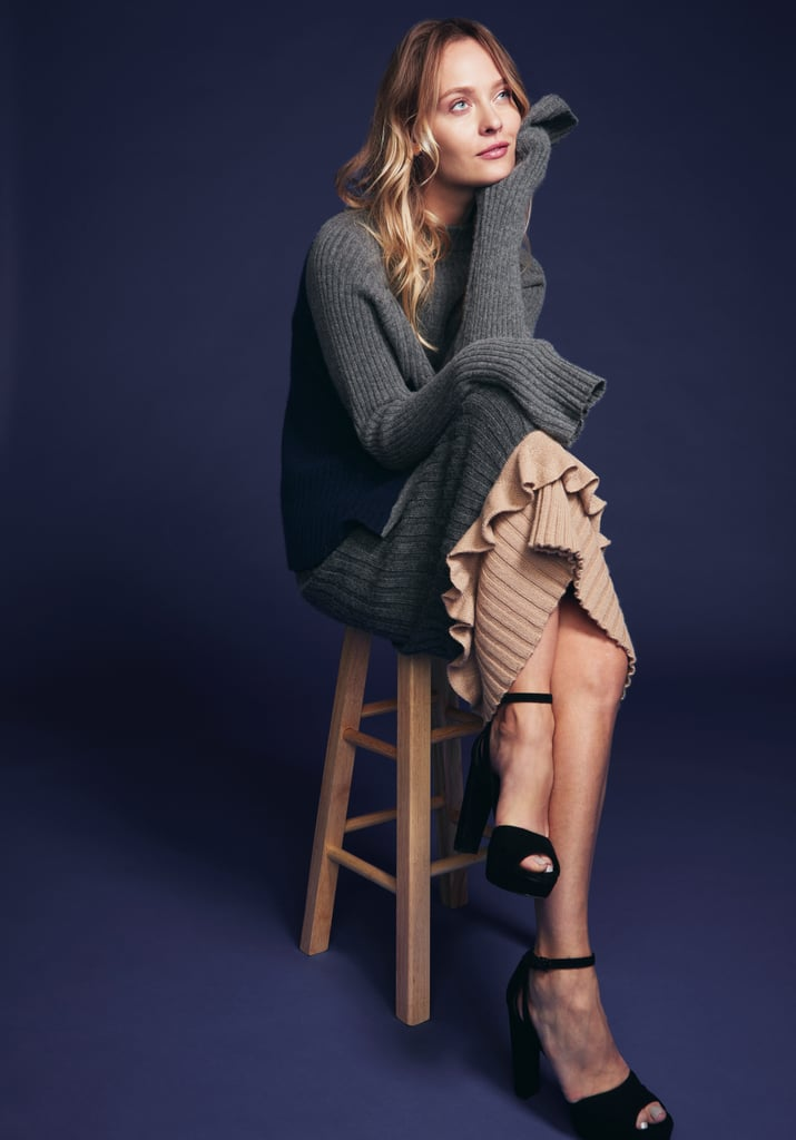An oversize knit sweater to layer over a knit skirt