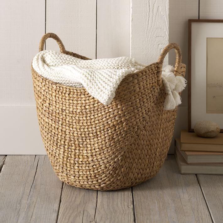 West Elm Large Curved Basket w/ Handles