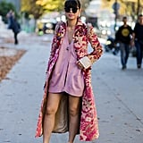 Wear a Cardigan as a Minidress and Style It With a Jacquard Coat