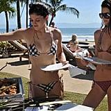 Kendall and Kylie grabbed food from a buffet.  Source: Casa Aramara