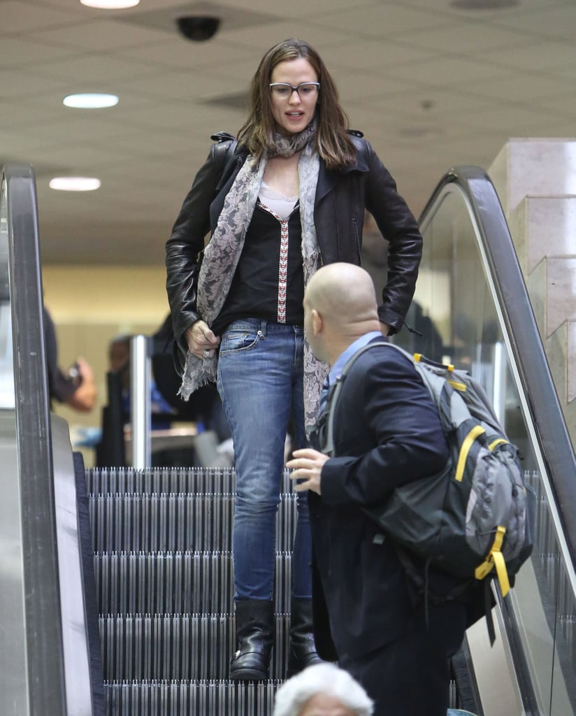 Jennifer Garner wore a leather jacket and black boots as she arrived at LAX.