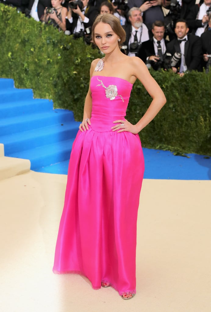The Chanel Dress Featured 2 Sequined Roses, 1 of Which Came Around Her Shoulder