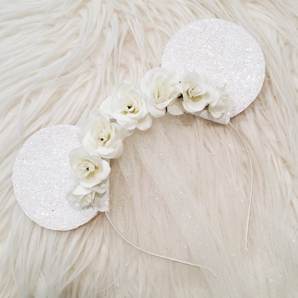 Bride Floral Glitter Minnie Mouse Ears With Tulle Veil ( 26 ... f7f79e9f5a9