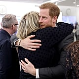 Harry hugged journalist Bryony Gordon during the first annual Royal Foundation Forum at Aviva in 2018.