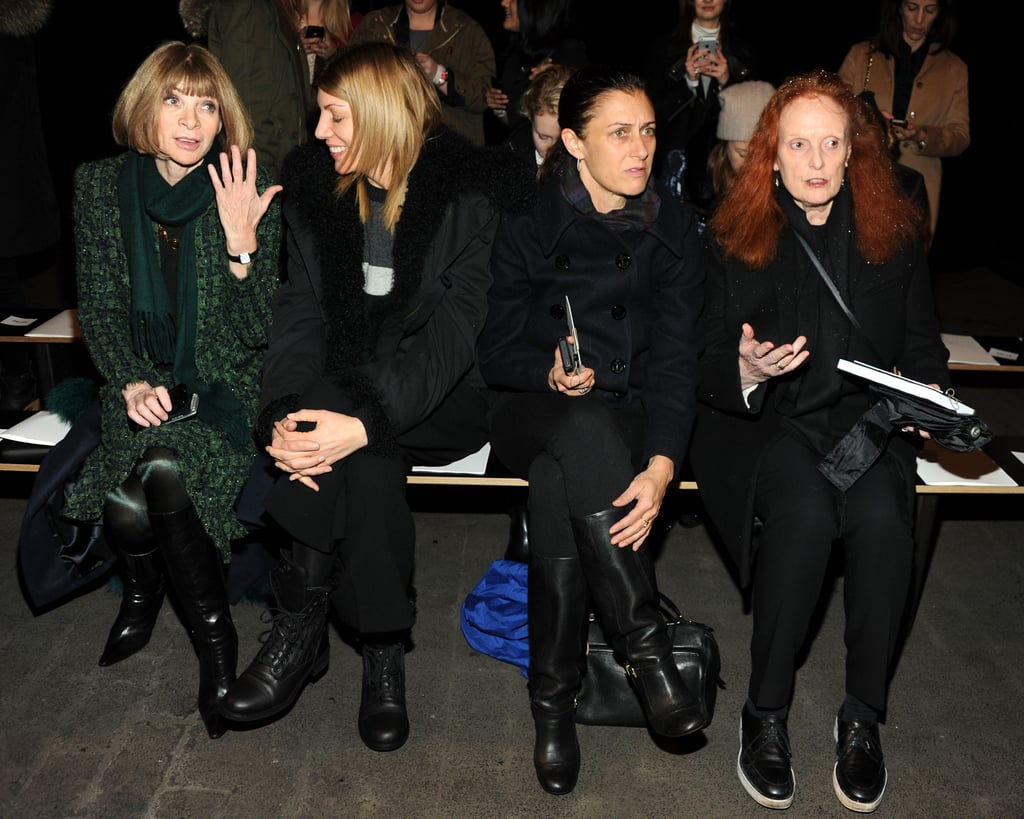 Front-row favorites: Anna Wintour, Virginia Smith, Sally Singer, and Grace Coddington donned lots of layers while chatting before the Rag & Bone show.