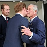Harry greeted his father with a kiss at the launch of the Invictus Games.