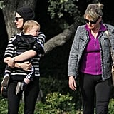 January Jones and Xander were accompanied by her mom, Karen, for an outing in LA.
