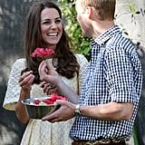 Prince William handed his wife a flower while they were in Australia.