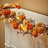 Lighted Velvet Pumpkin Garland