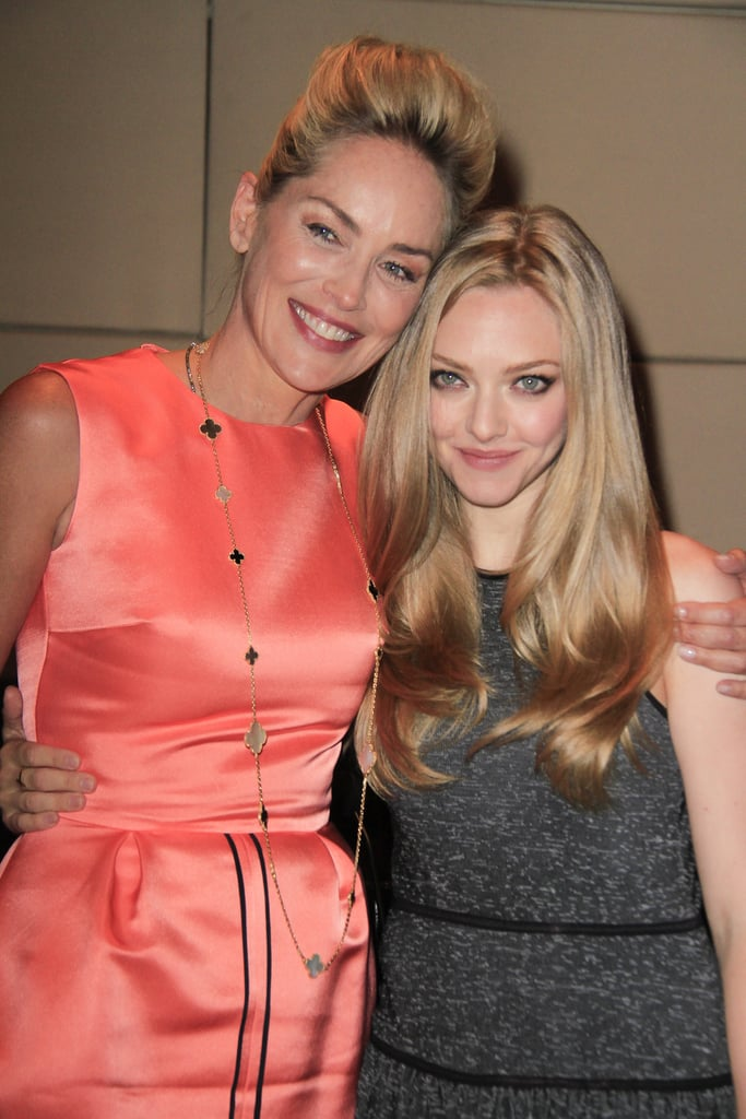 Sharon Stone gave Amanda Seyfried a hug.