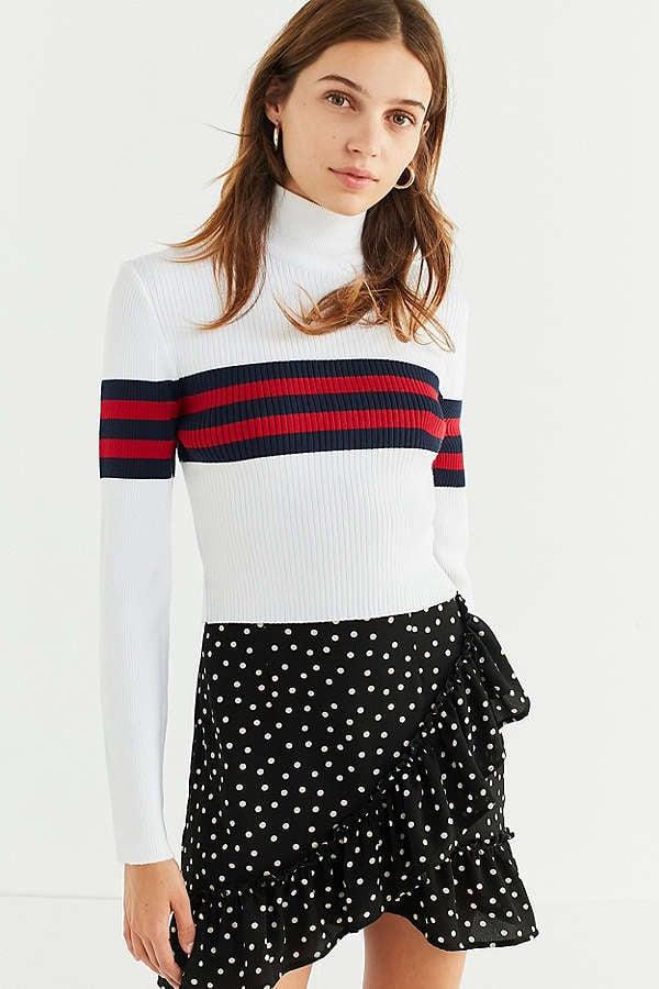 UO Izzie Striped Mock-Neck Sweater