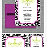 Zebra-Print and Chandelier Wedding Invitation