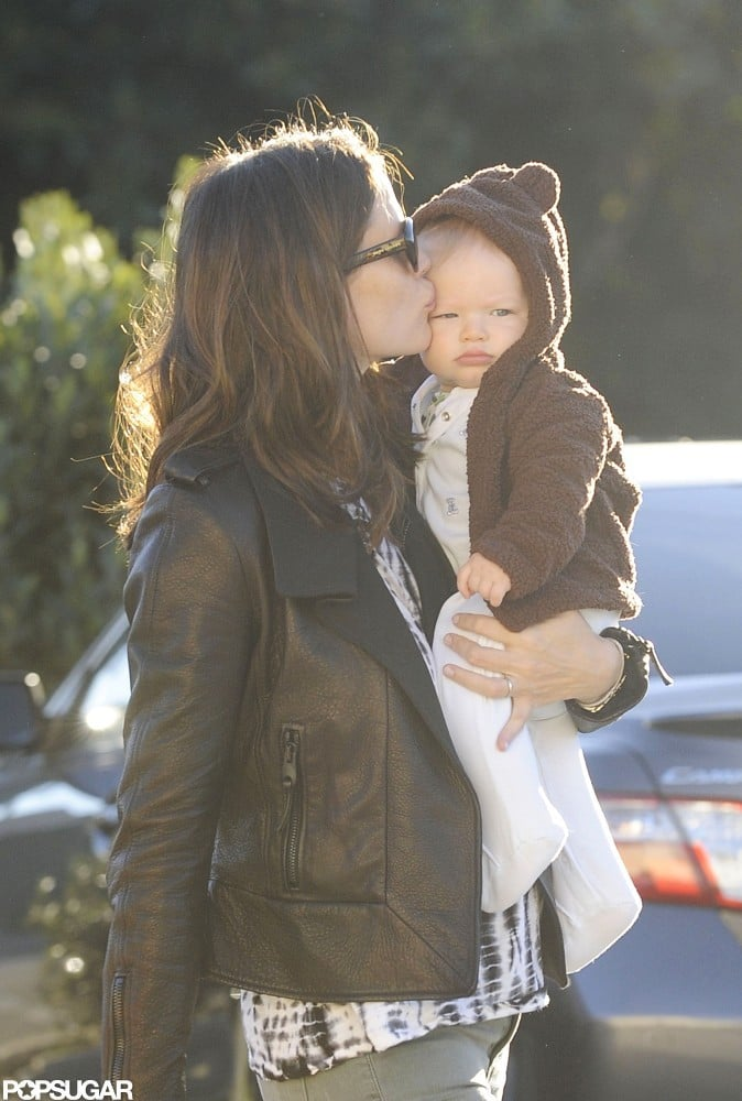 Jennifer Garner planted a kiss on 8-month-old Samuel at Brentwood Country Mart in LA in October 2012.