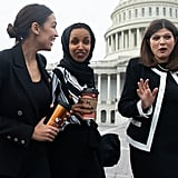 Alexandria stepped out in a black suit for a photo opportunity with the female Democratic members of the House on Jan. 4, 2019.