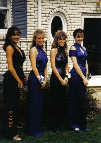 """Blue halter gowns with sparkles and matching shoes were all the rage. LOL!""  — Jaime Richards"