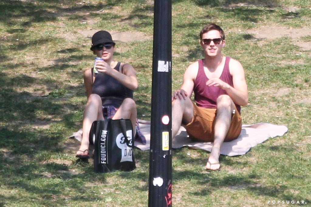 Jennifer Lawrence and Nicholas Hoult hung out on a blanket in the park.