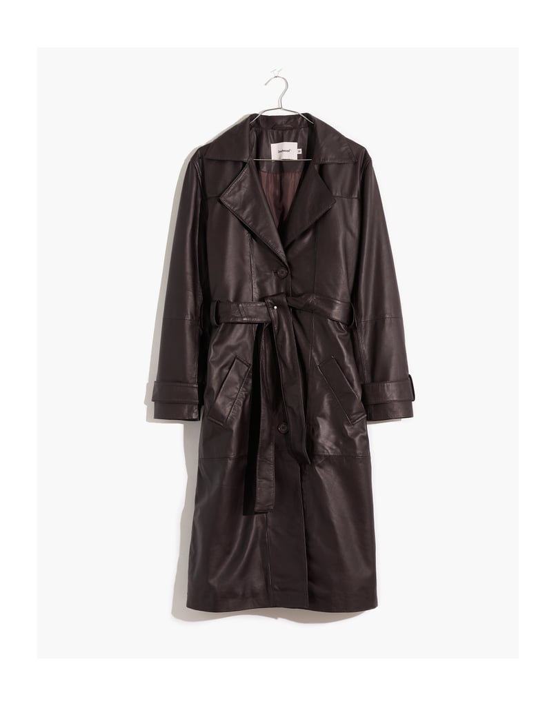 Madewell Deadwood Recycled Leather Terra Trench Coat