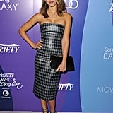 Jessica alba wore a strappless houndstooth Dior gown to Variety's 5th Annual Power of Women event. Her clutch is also by the brand.