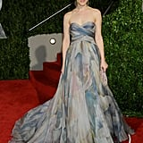 Rachel's printed Elie Saab gown turned heads at the 2010 Vanity Fair Oscars party.