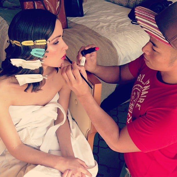 Rose Byrne's finger waves set while she gets her hot pink lipstick applied before the SAG Awards. Source: Instagram user hungvanngo