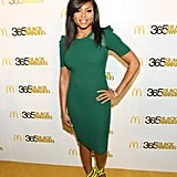 Taraji P. Henson contrasted an emerald-green Stella & Jamie dress with neon yellow Jimmy Choo sandals at the 365 Black Awards in New Orleans.