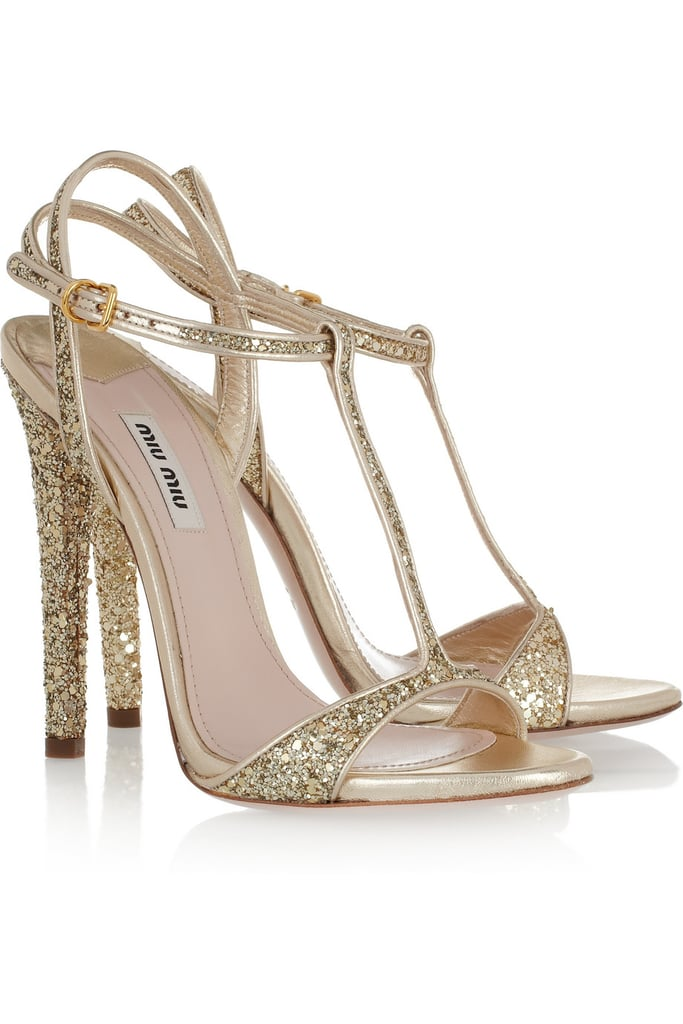 We can easily imagine these gorgeous Miu Miu sandals on the blushing bride or girl about town.  Miu Miu Glitter Finish Sandals ($438, originally $730)