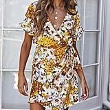 FFLMYUHULIU Floral Wrap Dress